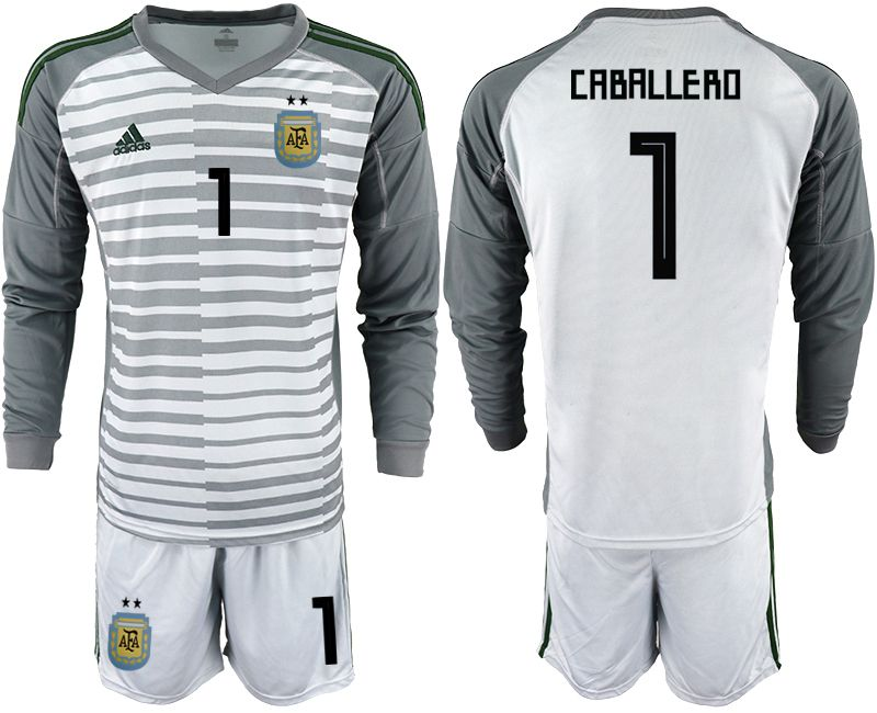 Men 2018 World Cup Argentina gray long sleeve goalkeeper 1 soccer jersey