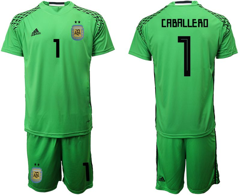 Men 2018 World Cup Argentina green goalkeeper 1 soccer jersey