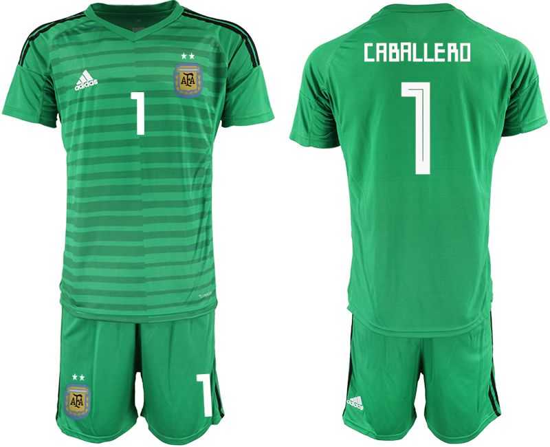 Men 2018 World Cup Argentina green goalkeeper 1 soccer jersey1