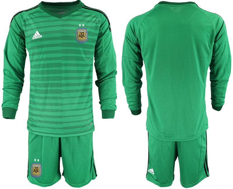 Men 2018 World Cup Argentina green long sleeve goalkeeper soccer jersey