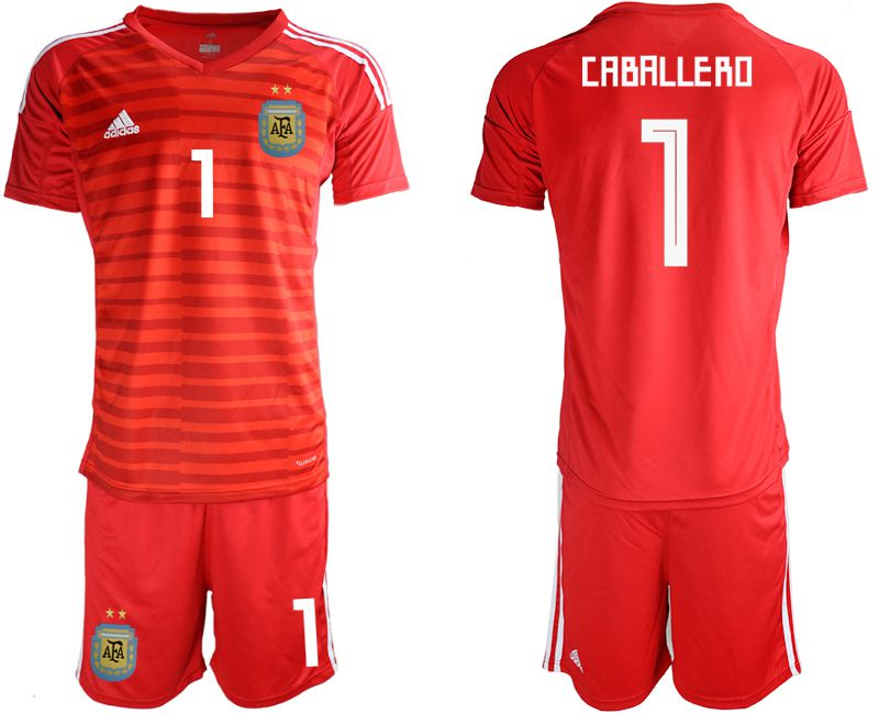 Men 2018 World Cup Argentina red goalkeeper 1 soccer jersey