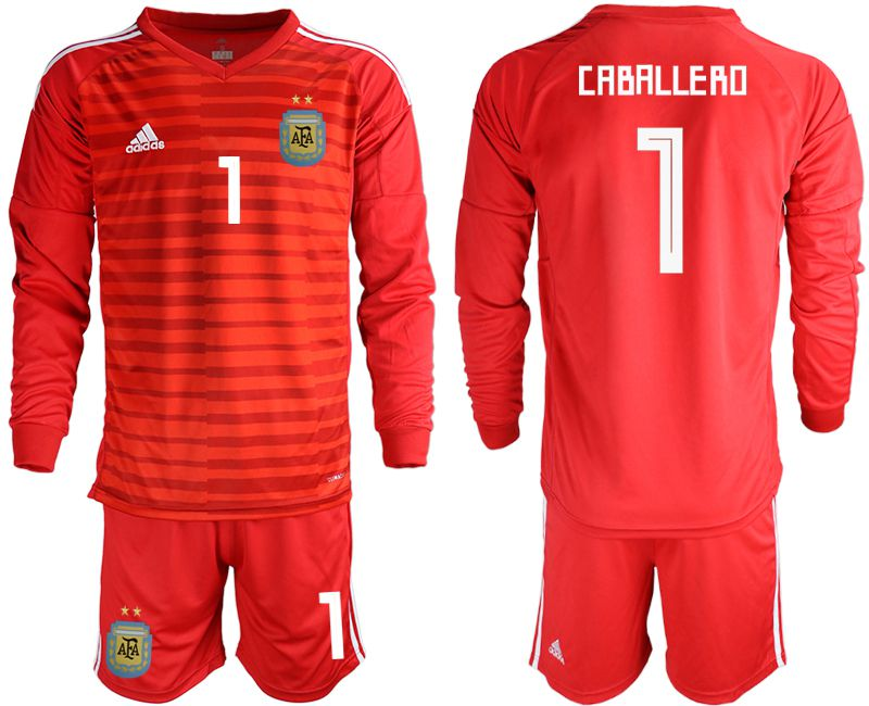 Men 2018 World Cup Argentina red goalkeeper long sleeve 1 soccer jersey