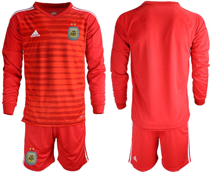 Men 2018 World Cup Argentina red goalkeeper long sleeve soccer jersey