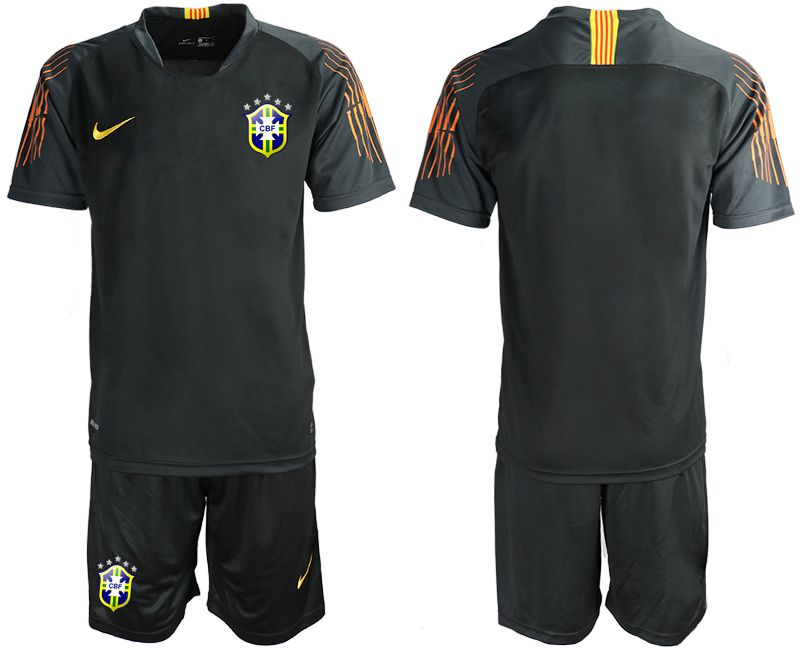 Men 2018 World Cup Brazil black goalkeeper soccer jersey