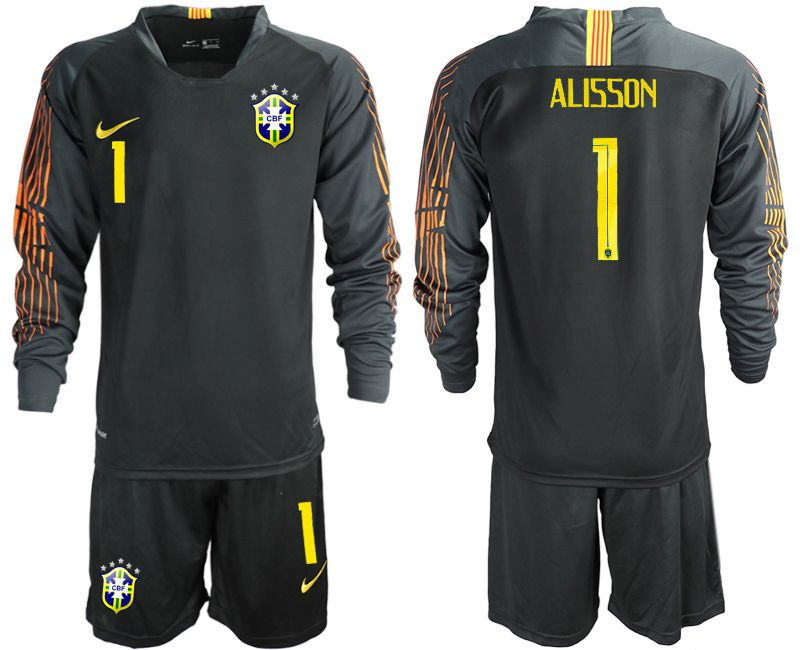 Men 2018 World Cup Brazil black long sleeve goalkeeper 1 soccer jersey