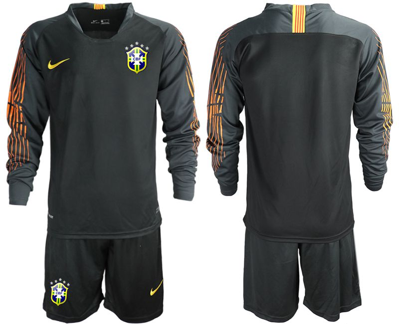 Men 2018 World Cup Brazil black long sleeve goalkeeper soccer jersey