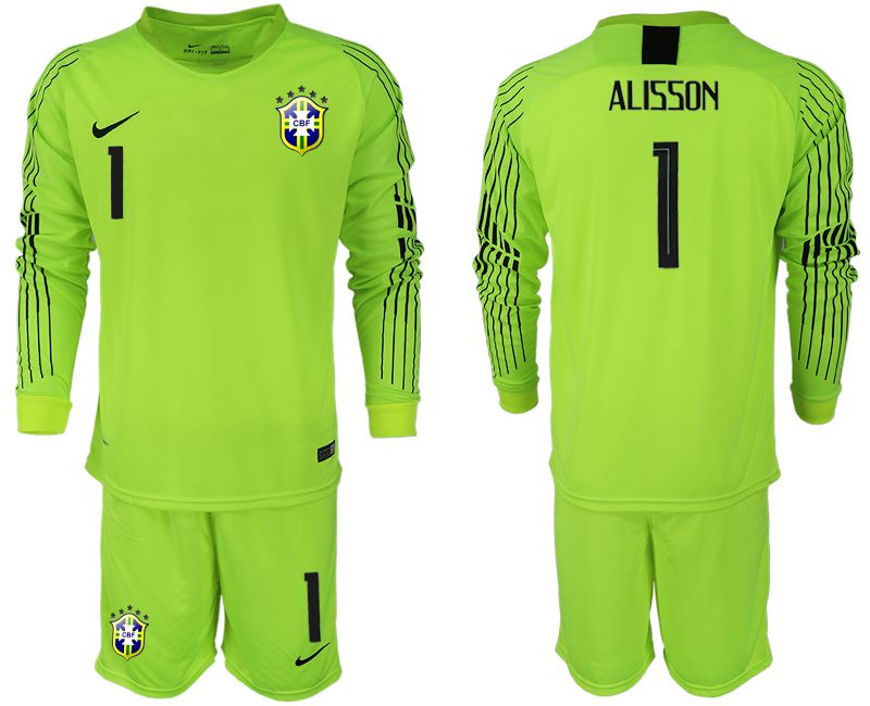 Men 2018 World Cup Brazil fluorescent green long sleeve goalkeeper 1 soccer jersey