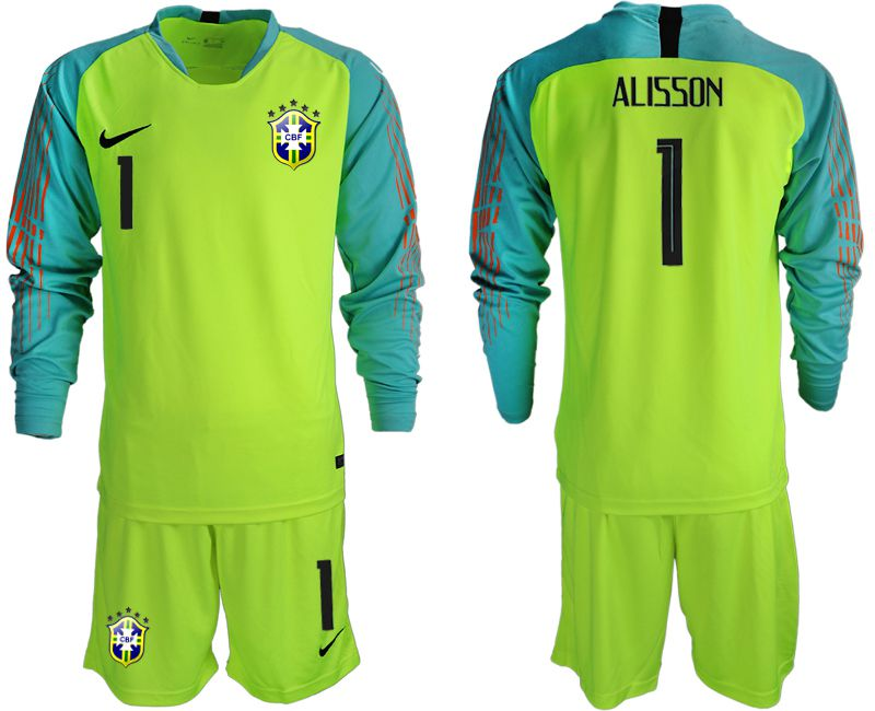 Men 2018 World Cup Brazil fluorescent green long sleeve goalkeeper 1 soccer jersey1