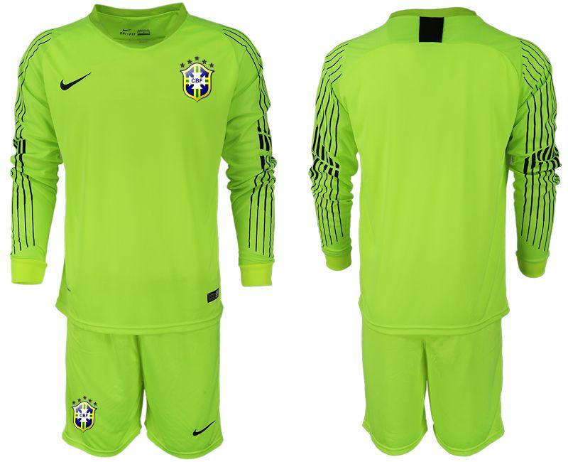 Men 2018 World Cup Brazil fluorescent green long sleeve goalkeeper soccer  jersey 77382e441