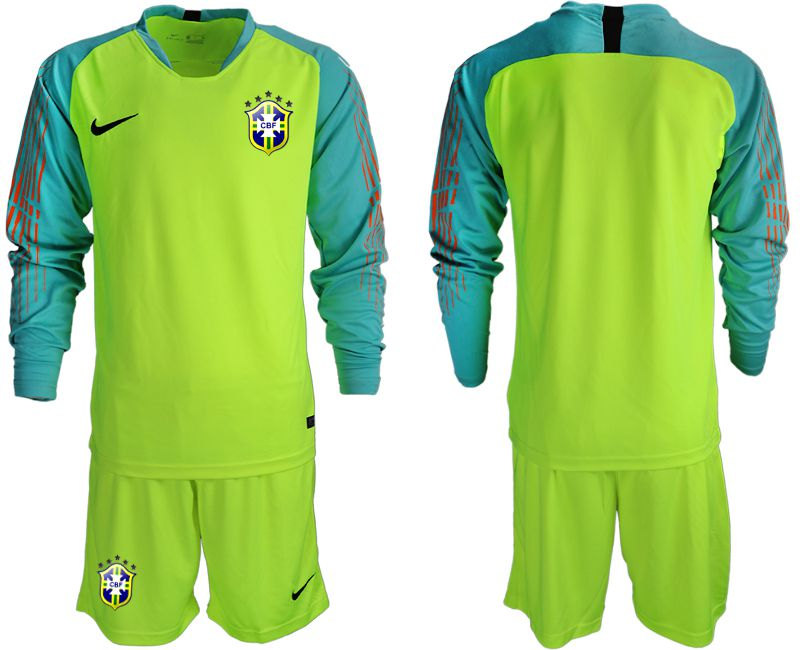 Men 2018 World Cup Brazil fluorescent green long sleeve goalkeeper soccer jersey1