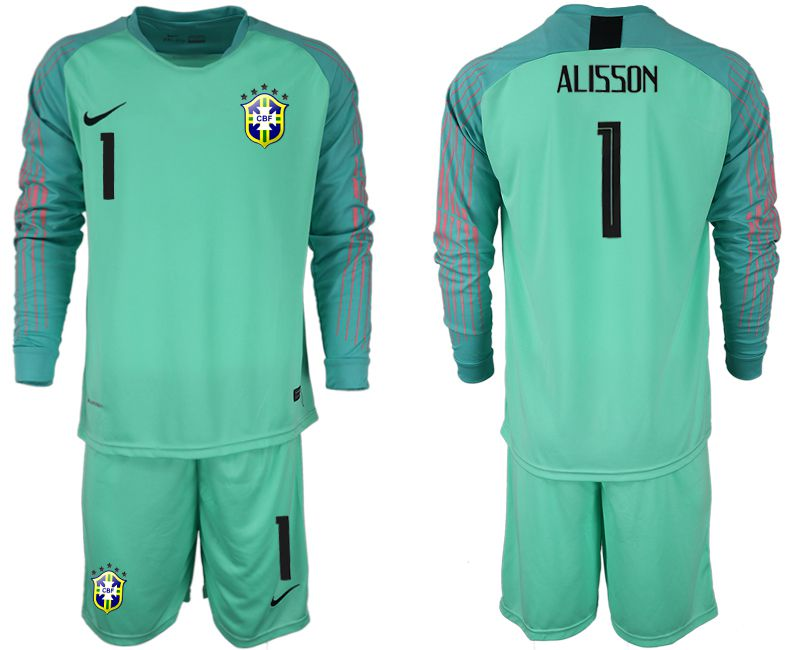 Men 2018 World Cup Brazil green goalkeeper long sleeve 1 soccer jersey