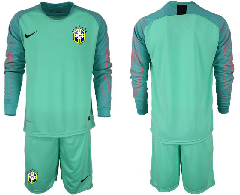 Men 2018 World Cup Brazil green goalkeeper long sleeve soccer jersey