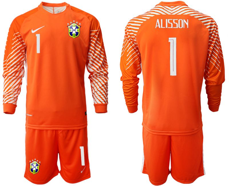 Men 2018 World Cup Brazil orange goalkeeper long sleeve 1 soccer jersey
