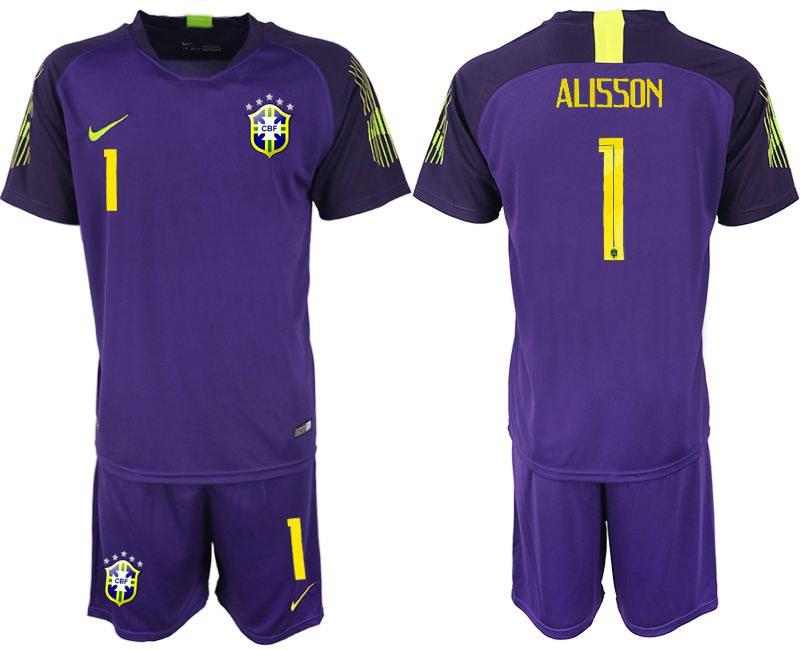 Men 2018 World Cup Brazil purple goalkeeper 1 soccer jersey