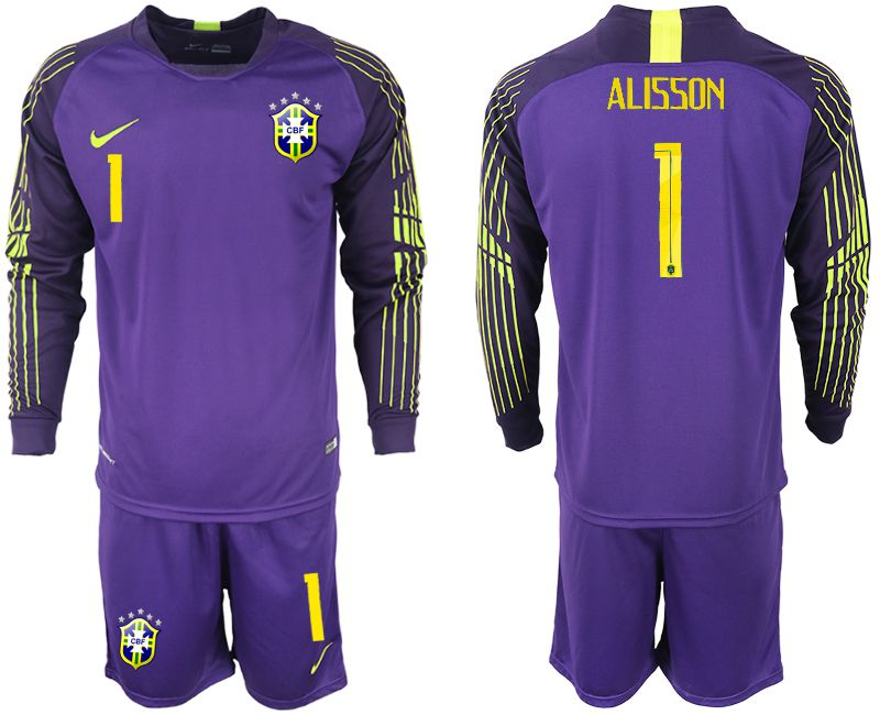 Men 2018 World Cup Brazil purple goalkeeper long sleeve 1 soccer jersey