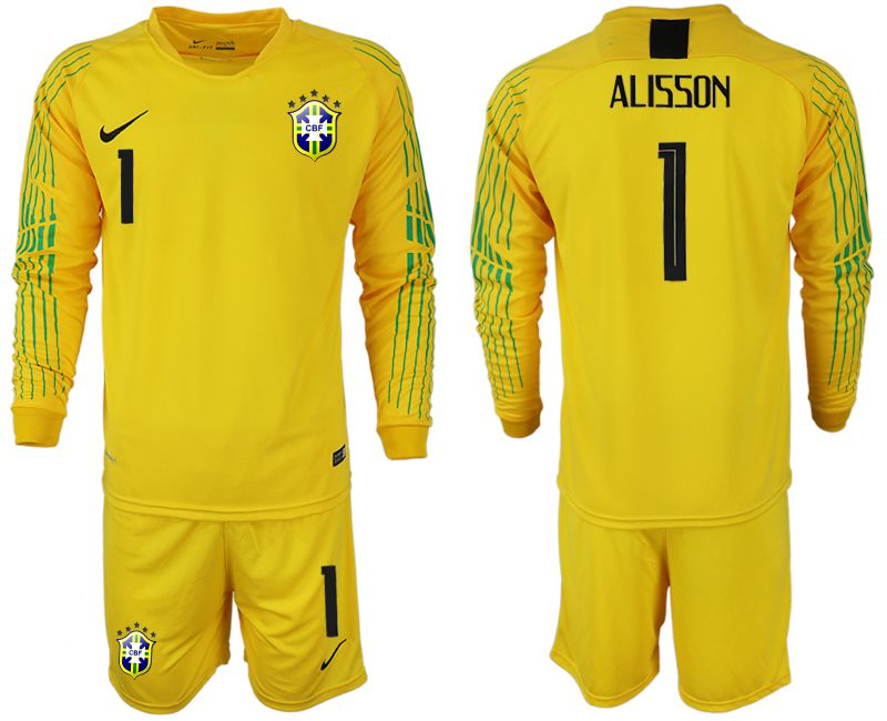 Men 2018 World Cup Brazil yellow goalkeeper long sleeve 1 soccer jersey