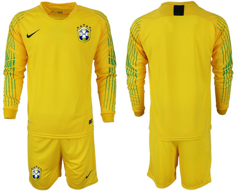Men 2018 World Cup Brazil yellow goalkeeper long sleeve soccer jersey