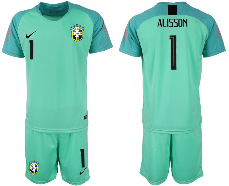 Men 2018 World Cup Brazilian green goalkeeper 1 soccer jersey