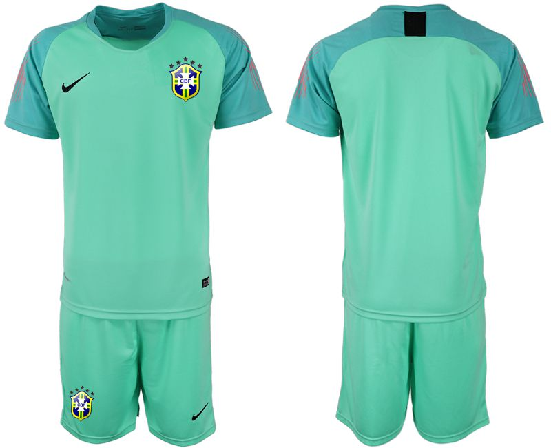 Men 2018 World Cup Brazilian green goalkeeper soccer jersey
