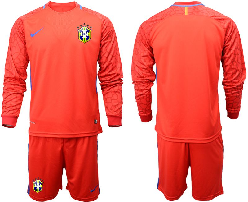 Men 2018 World Cup brazil red goalkeeper long sleeve soccer jersey