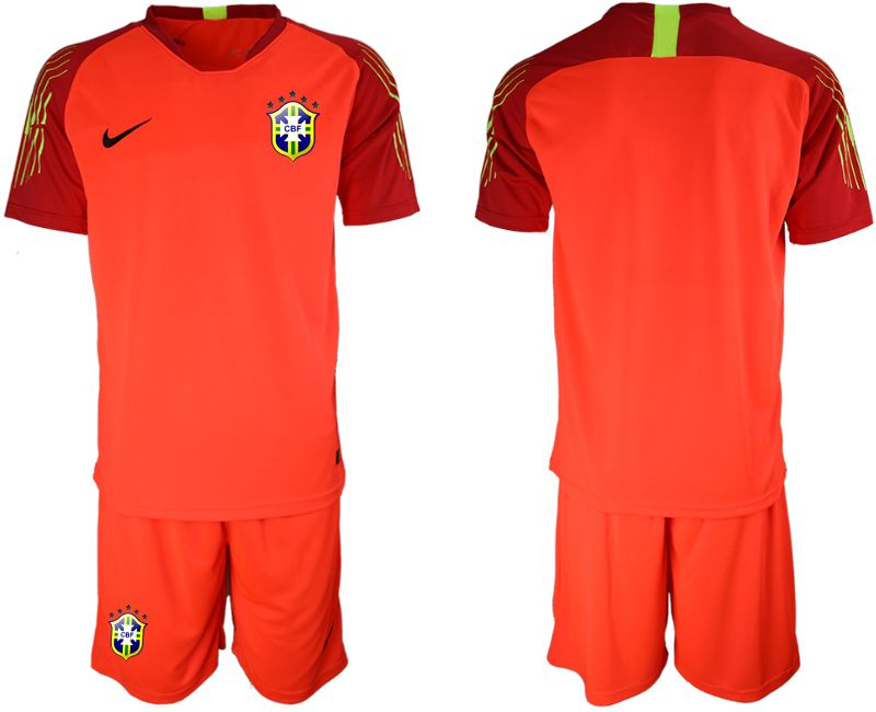 Men 2018 World Cup brazil red goalkeeper soccer jersey