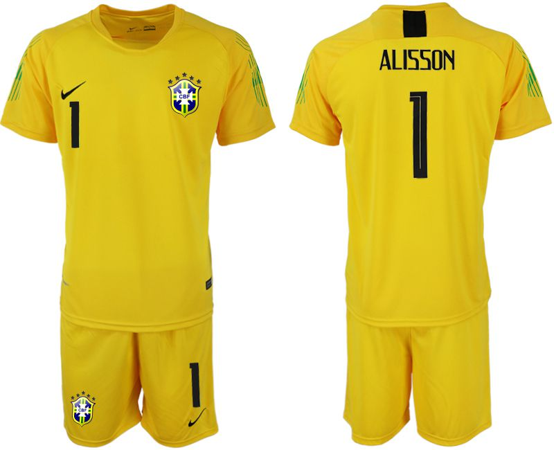 Men 2018 World Cup brazil yellow goalkeeper 1 soccer jersey