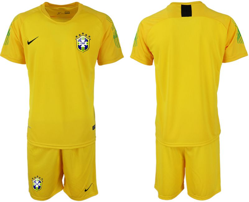Men 2018 World Cup brazil yellow goalkeeper soccer jersey