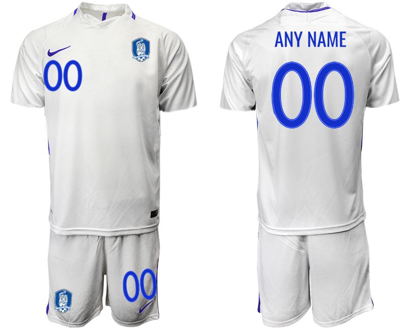 Men 2018-2019 National Team Korea Republic away white customized Soccer Jerseys