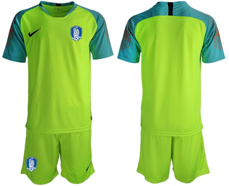 Men 2018-2019 National Team Korea Republic fluorescent green goalkeeper soccer jersey2