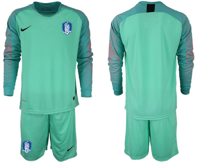 Men 2018-2019 National Team Korea Republic green goalkeeper long sleeve Soccer Jerseys