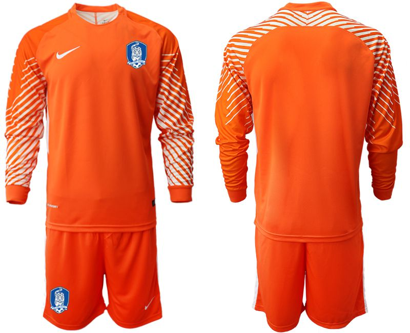 Men 2018-2019 National Team Korea Republic orange goalkeeper long sleeve Soccer Jerseys
