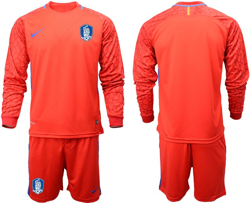 Men 2018-2019 National Team Korea Republic red goalkeeper long sleeve Soccer Jerseys