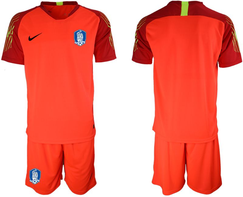 Men 2018-2019 National Team Korea Republic red goalkeeper soccer jersey