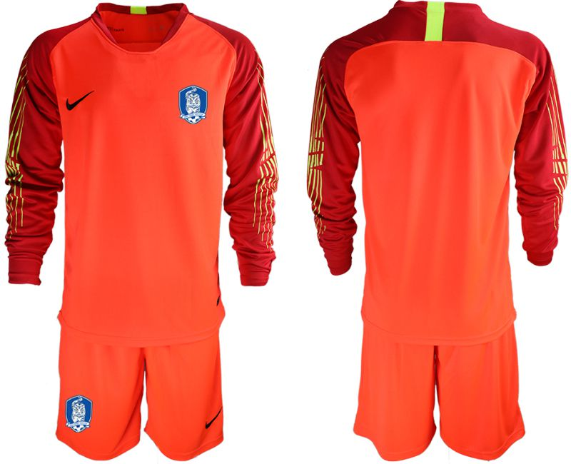Men 2018-2019 National Team Korea Republic red long sleeve goalkeeper Soccer Jerseys