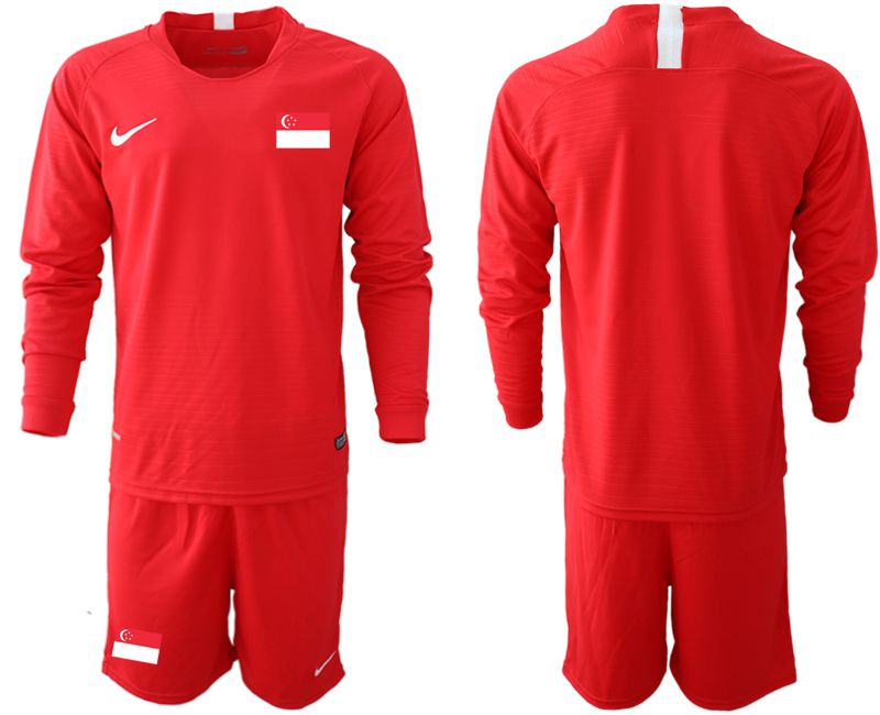 Men 2018-2019 National Team Singapore home long sleeve red Soccer Jerseys