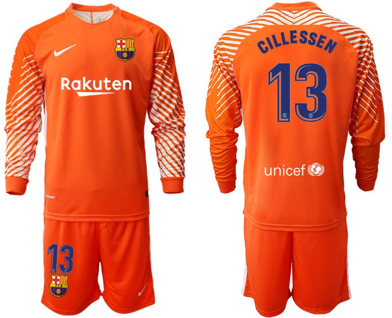 Men 2018-2019 club Barcelona orange goalkeeper long sleeve 13 Soccer Jerseys