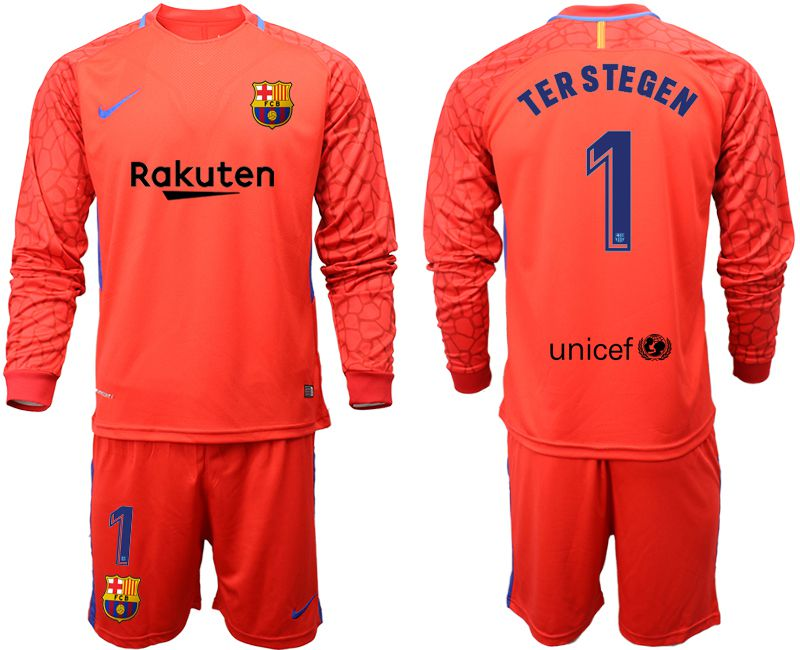 593f1c961 Men 2018-2019 club Barcelona red goalkeeper long sleeve 1 Soccer Jerseys