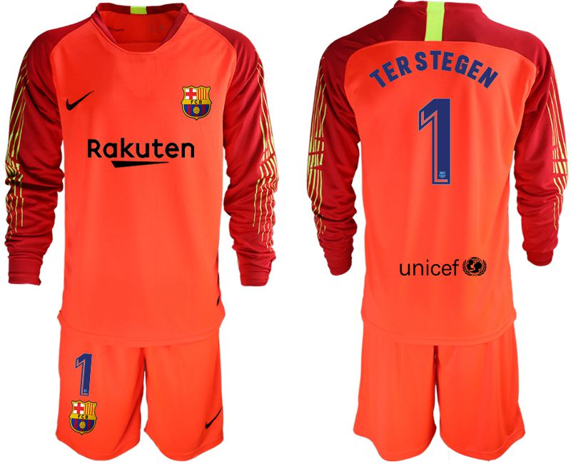 Men 2018-2019 club Barcelona red goalkeeper long sleeve 1 Soccer Jerseys1