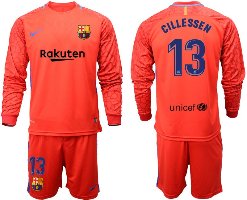 Men 2018-2019 club Barcelona red goalkeeper long sleeve 13 Soccer Jerseys