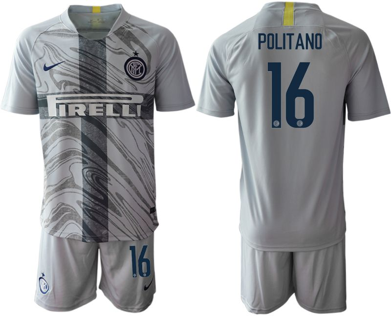Men 2018-2019 club Inter Milan Third grey 16 Soccer Jerseys