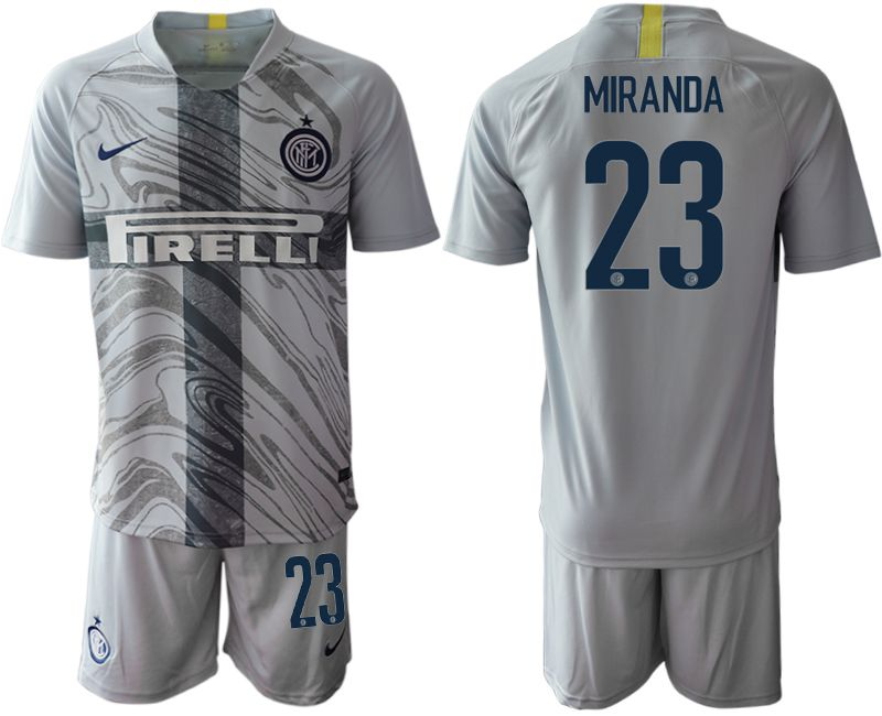 Men 2018-2019 club Inter Milan Third grey 23 Soccer Jerseys