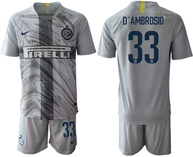 Men 2018-2019 club Inter Milan Third grey 33 Soccer Jerseys