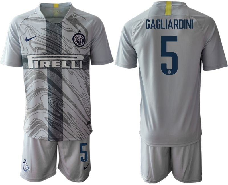 Men 2018-2019 club Inter Milan Third grey 5 Soccer Jerseys