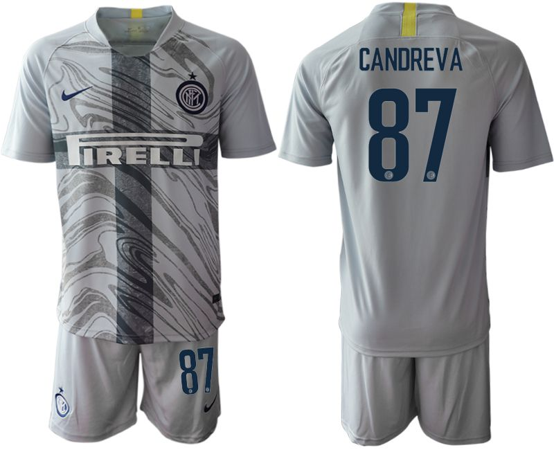 Men 2018-2019 club Inter Milan Third grey 87 Soccer Jerseys