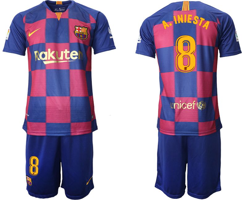Men 2019-2020 club Barcelona 20th Anniversary home 8 blue Soccer Jerseys