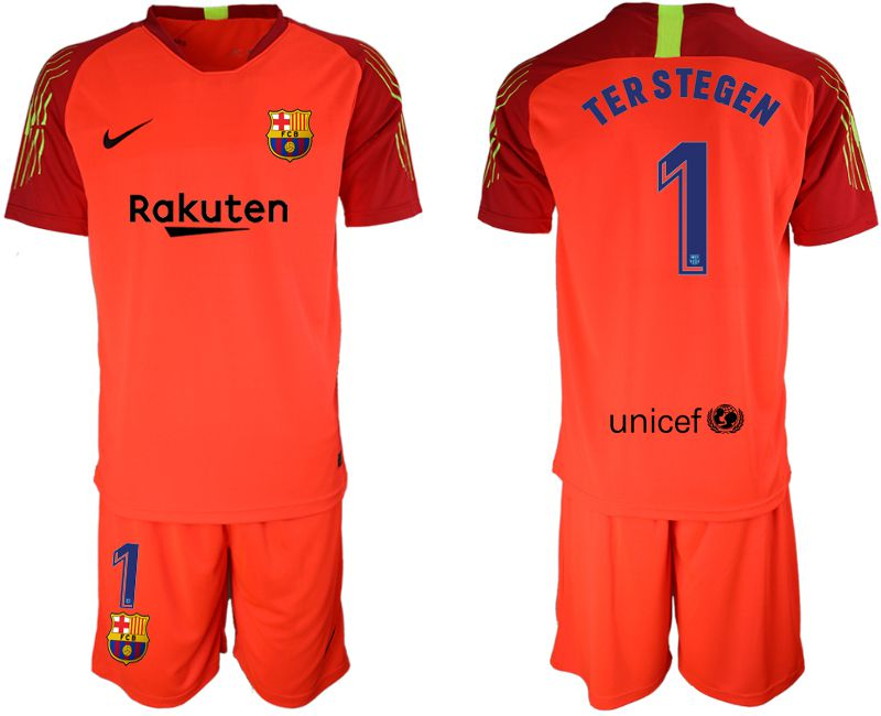 Men 2019-2020 club Barcelona red goalkeeper 1 Soccer Jerseys