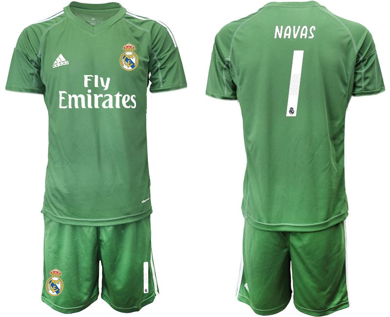 Men 2019-2020 club Real Madrid army green goalkeeper 1 Soccer Jerseys