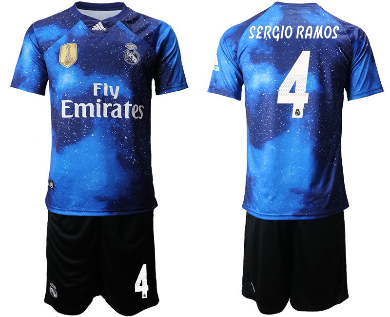 Men 2019-2020 club Real Madrid away 4 blue Soccer Jerseys