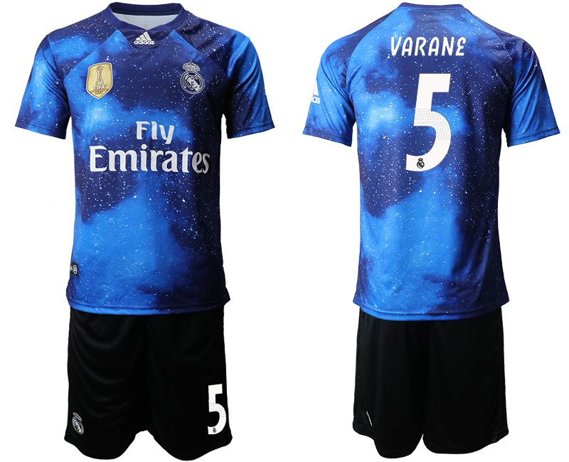 Men 2019-2020 club Real Madrid away 5 blue Soccer Jerseys