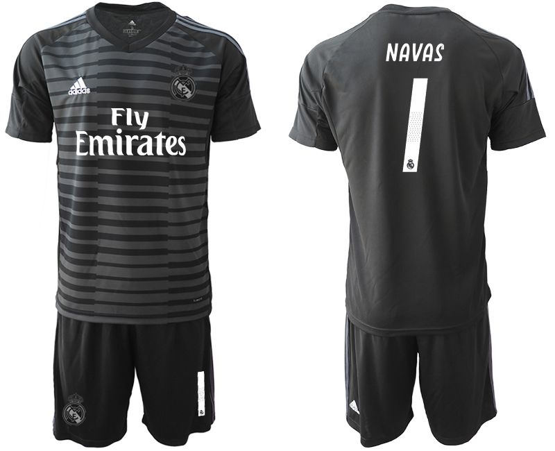 Men 2019-2020 club Real Madrid black goalkeeper 1 Soccer Jerseys